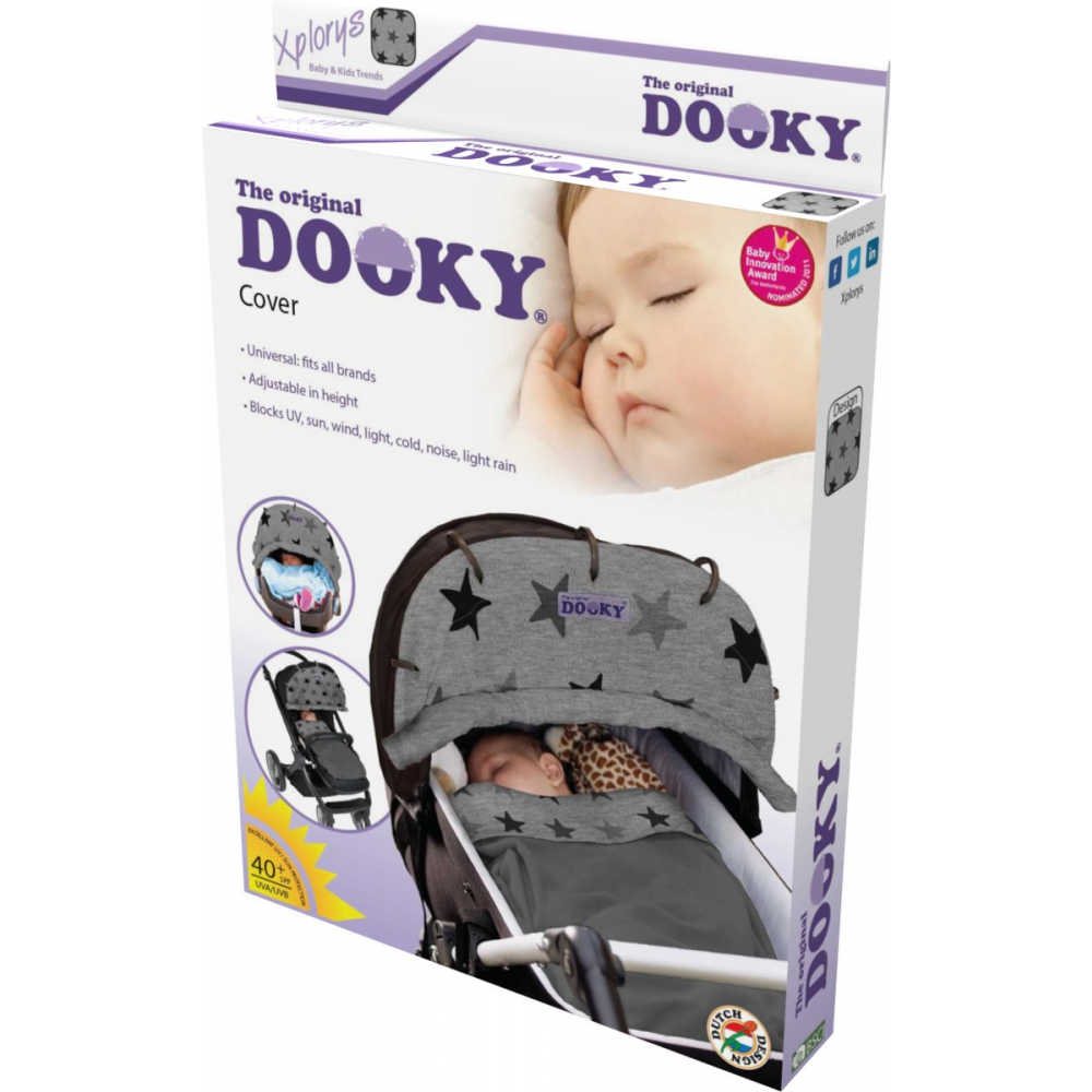 Dooky kinderwagenscherm 'Grey Star'