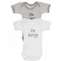 ISI MINI - Romper - Tekst: I'm Dutch - Grijs / Wit - 62/