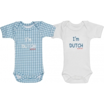 Isi Mini Romper I'm Dutch - Blauw / Wit - maat 50/56