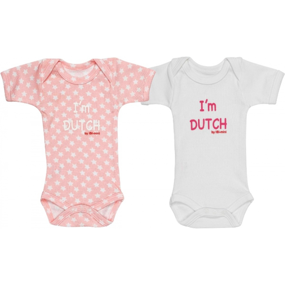 Isi Mini Romper I'm Dutch - Roze / Wit - maat 62/68