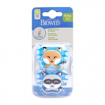 Dr Brown's Fopspeen Fase 1 Blauw 2-pack animal faces