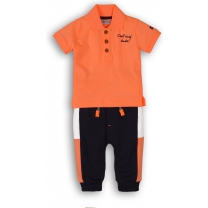 Dirkje Babyset 2-delig - Bright orange + navy - Maat 62