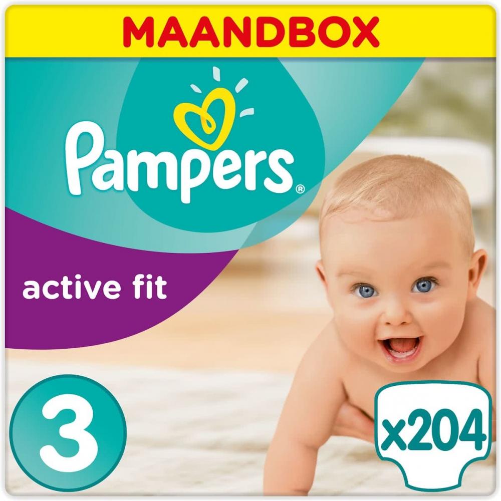 pampers outlet active fit maat 3 5 9kg maandbox 204 stuks babyoutlet. Black Bedroom Furniture Sets. Home Design Ideas